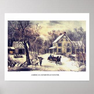 Curtidor y litografía de Ives: Granja americana Póster