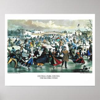 Curtidor y litografía de Ives: Invierno del Póster