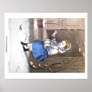Curtidor y litografía de Ives: Pequeño Snowbird Póster
