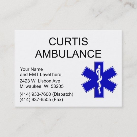 Curtis ambulance business cards zazzle curtis ambulance business cards colourmoves