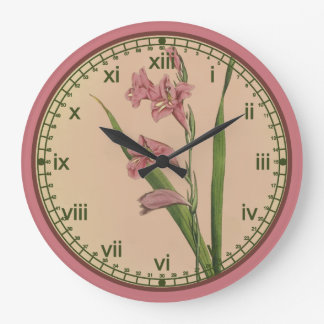 Curtis Botanical Pink Lily Wall Clock in 3 Styles