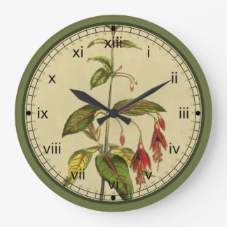 Curtis Botanical Red Flower Wall Clock in 3 Styles