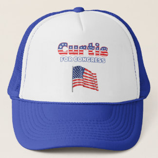 Curtis for Congress Patriotic American Flag Design Trucker Hat