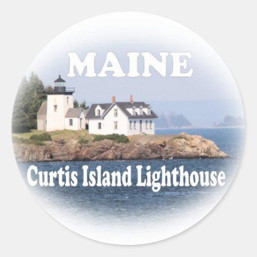 Curtis Island Lighthouse Round Sticker