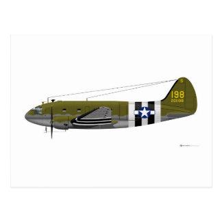 Curtiss C-46 Commando Invasion Stripes Post Card