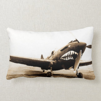 Curtiss P40 Warhawk Flying Tigers Shark Face Plane Lumbar Pillow