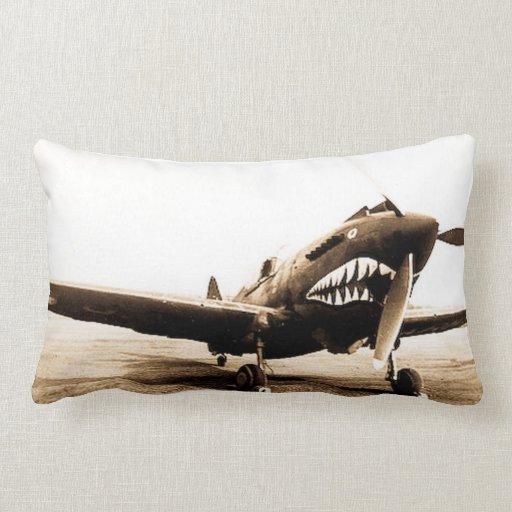 Curtiss P40 Warhawk Flying Tigers Shark Face Plane Throw Pillow