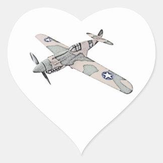 Curtiss P-40 Warhawk Aircraft Heart Sticker