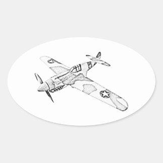 Curtiss P-40 Warhawk Aircraft Oval Sticker