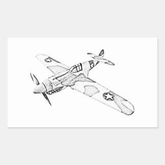 Curtiss P-40 Warhawk Aircraft Rectangular Sticker