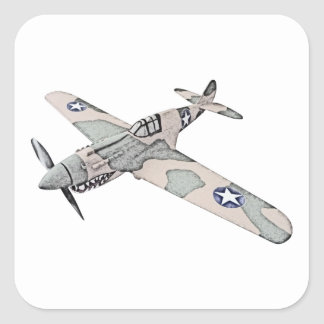 Curtiss P-40 Warhawk Aircraft Square Sticker