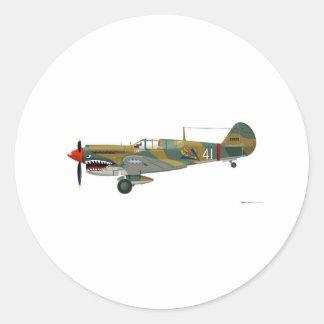 Curtiss P-40 Warhawk Classic Round Sticker