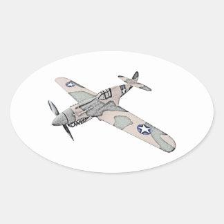 Curtiss P-40 Warhawk Oval Sticker