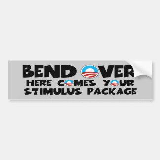 Curva anti de Obama sobre el paquete de estímulo Pegatina De Parachoque