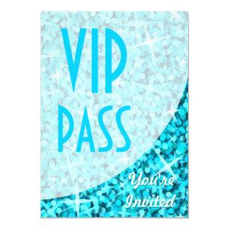 """Curva azul """"invitación del Glitz del paso del VIP"""" Invitación 5"""" X 7"""""""
