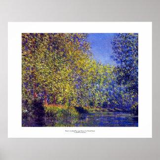 Curva de la pintura de Monet en el río Epte cerca  Póster