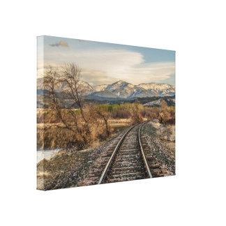 Curva en las pistas - pistas de ferrocarril - impresión en lienzo