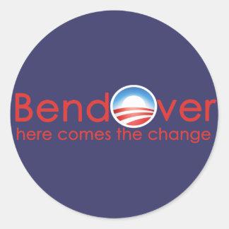 Curva encima para el cambio de Barack Obamas Etiquetas