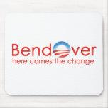 Curva encima para el cambio de Barack Obamas Tapetes De Ratón