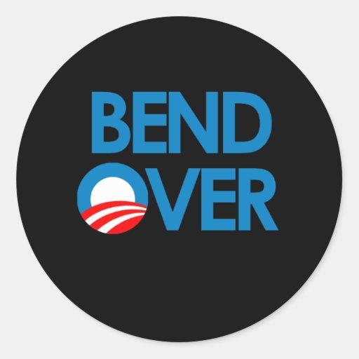 Curva encima para Obama Pegatina Redonda
