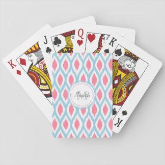 Curva geométrica Ikat del ornamento retro fresco d Cartas De Póquer