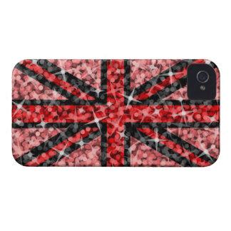 Curva negra roja BRITÁNICA de Blackberry de la mir iPhone 4 Protector