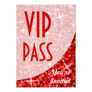 """Curva roja """"invitación del Glitz del paso del VIP"""" Invitación 5"""" X 7"""""""