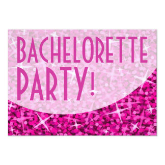 "Curva rosada ""fiesta del Glitz de Bachelorette!"" Invitación 5"" X 7"""