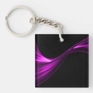 Curvar púrpura de la cinta llavero cuadrado acrílico a doble cara