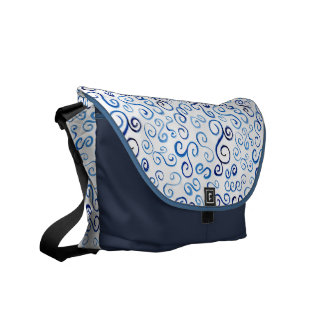 Curvas azules pintadas de la acuarela bolsa de mensajería