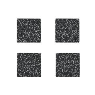 Curvas blancas del movimiento en sentido vertical imán de piedra