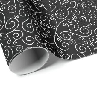 Curvas blancas del movimiento en sentido vertical papel de regalo