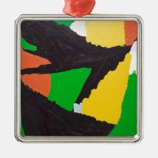 Curvas negras erosivas del rompecabezas adorno navideño cuadrado de metal