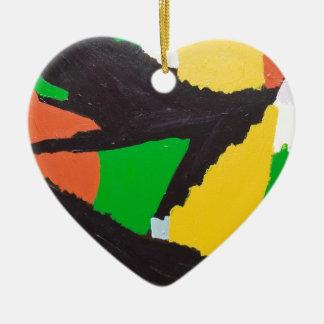 Curvas negras erosivas del rompecabezas adorno navideño de cerámica en forma de corazón