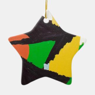 Curvas negras erosivas del rompecabezas adorno navideño de cerámica en forma de estrella