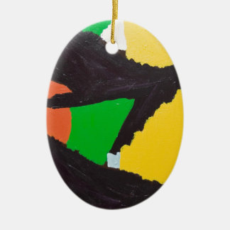 Curvas negras erosivas del rompecabezas adorno navideño ovalado de cerámica
