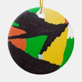 Curvas negras erosivas del rompecabezas adorno navideño redondo de cerámica