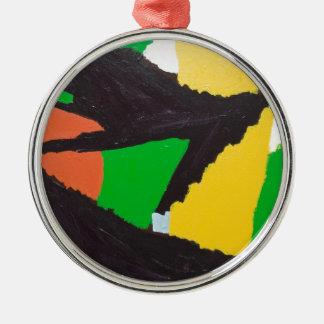 Curvas negras erosivas del rompecabezas adorno navideño redondo de metal