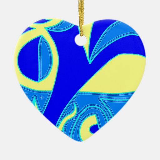 Curve Agression Double-Sided Heart Ceramic Christmas Ornament
