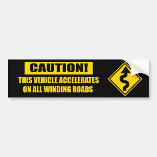 Curve Caution - black Car Bumper Sticker