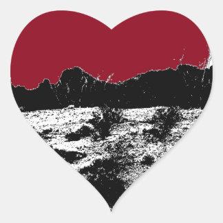 Curve of Earth Dark Red Sky Over Desert Heart Sticker