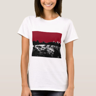 Curve of Earth Dark Red Sky Over Desert T-Shirt