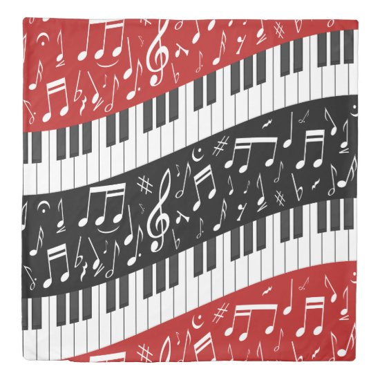 Curve piano keys and musical notes duvet cover