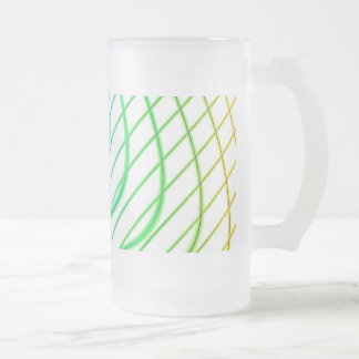 Curved and Straight Lines in Abstract Art Frosted Glass Beer Mug