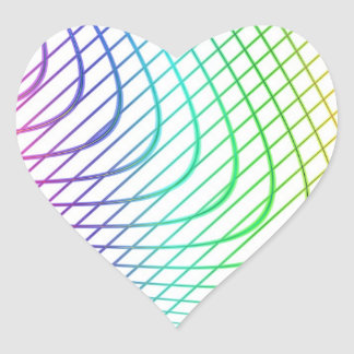 Curved and Straight Lines in Abstract Art Heart Sticker
