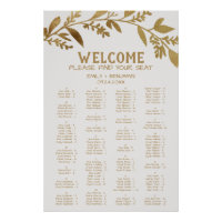 Curved Branch Gold Alphabetical Seating Chart