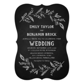 Curved Branches | Chalkboard Wedding Card
