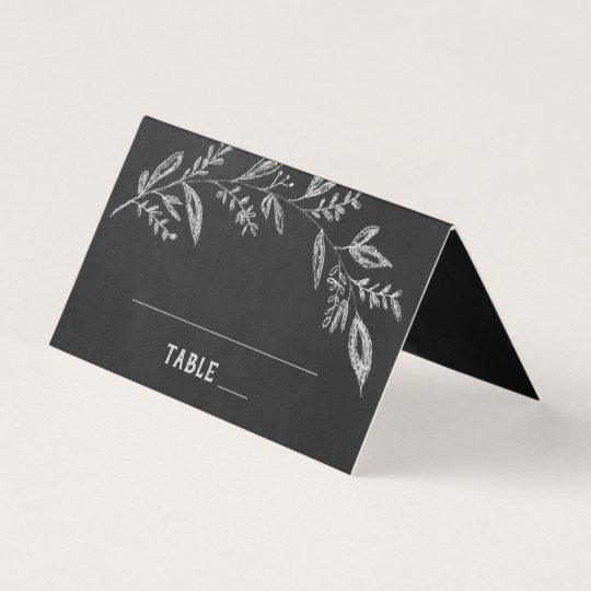 Curved Branches Chalkboard Wedding Place Card