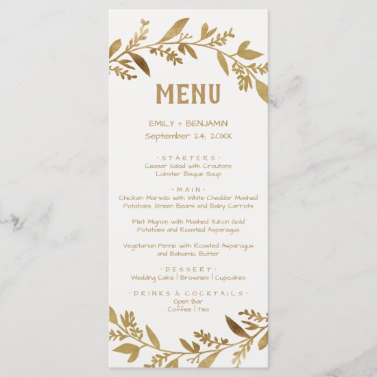 Curved Branches | Gold Dinner Menu Card