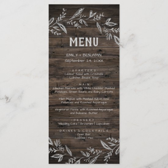 Curved Branches | Wooden Dinner Menu Card